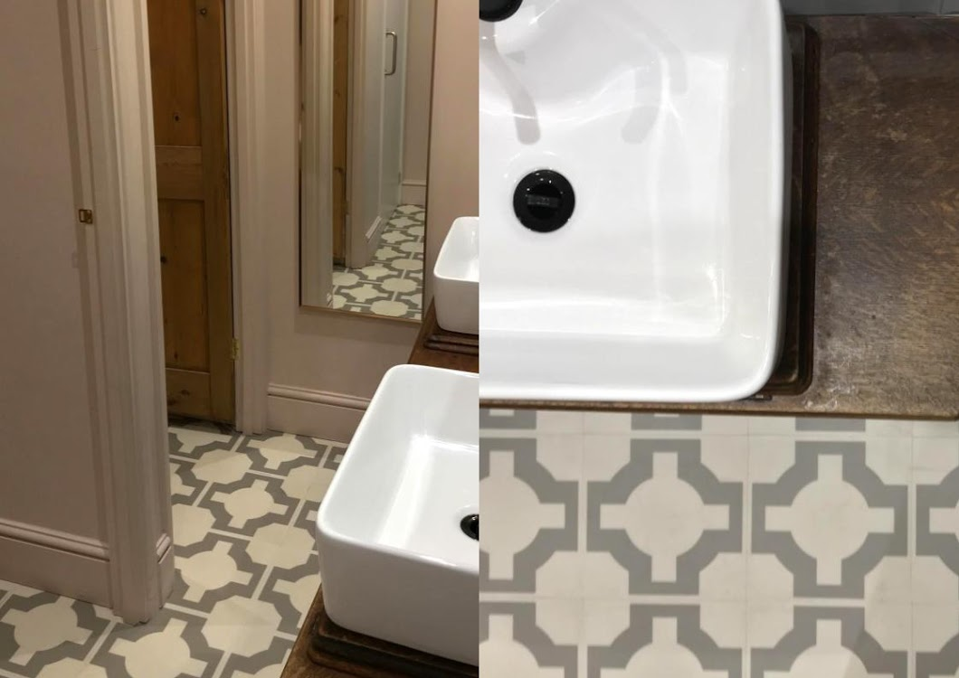 retro floor bathroom