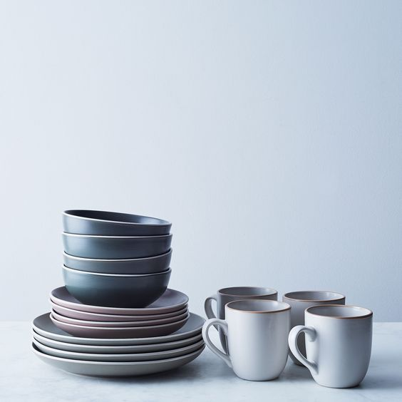 grey blue crockery