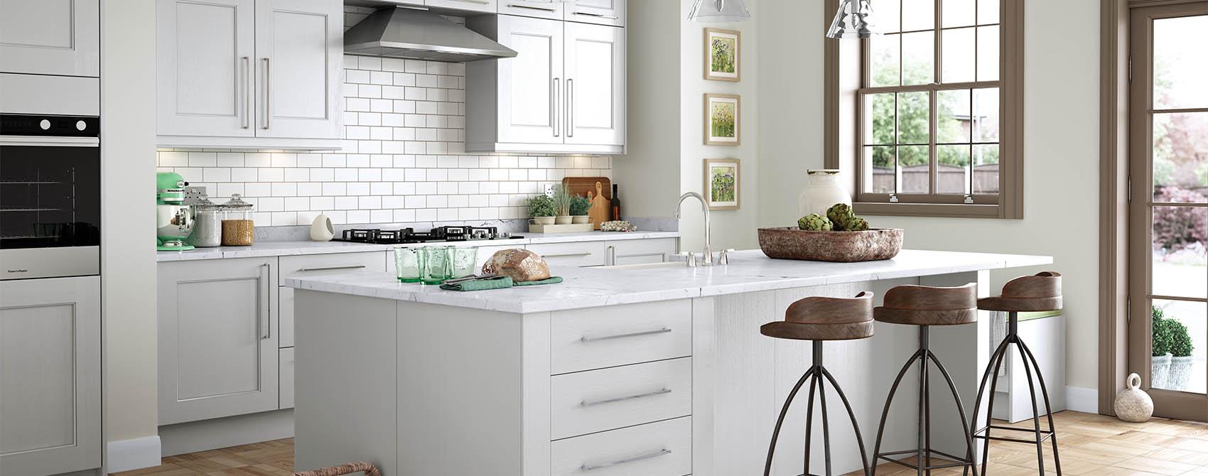 Farmhouse Kitchen White beaded shaker