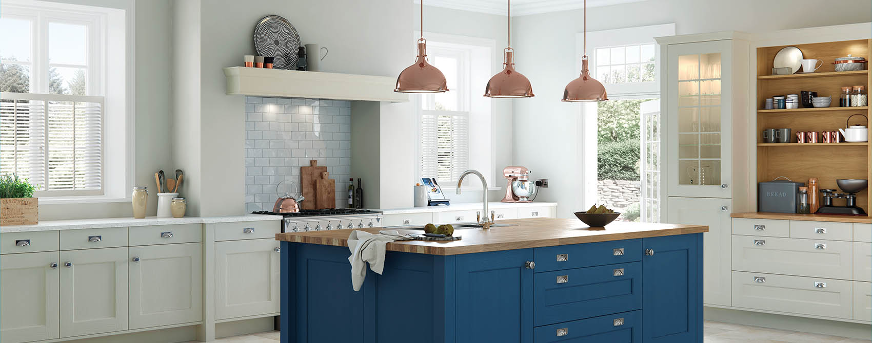 Shaker Cottage Blue White