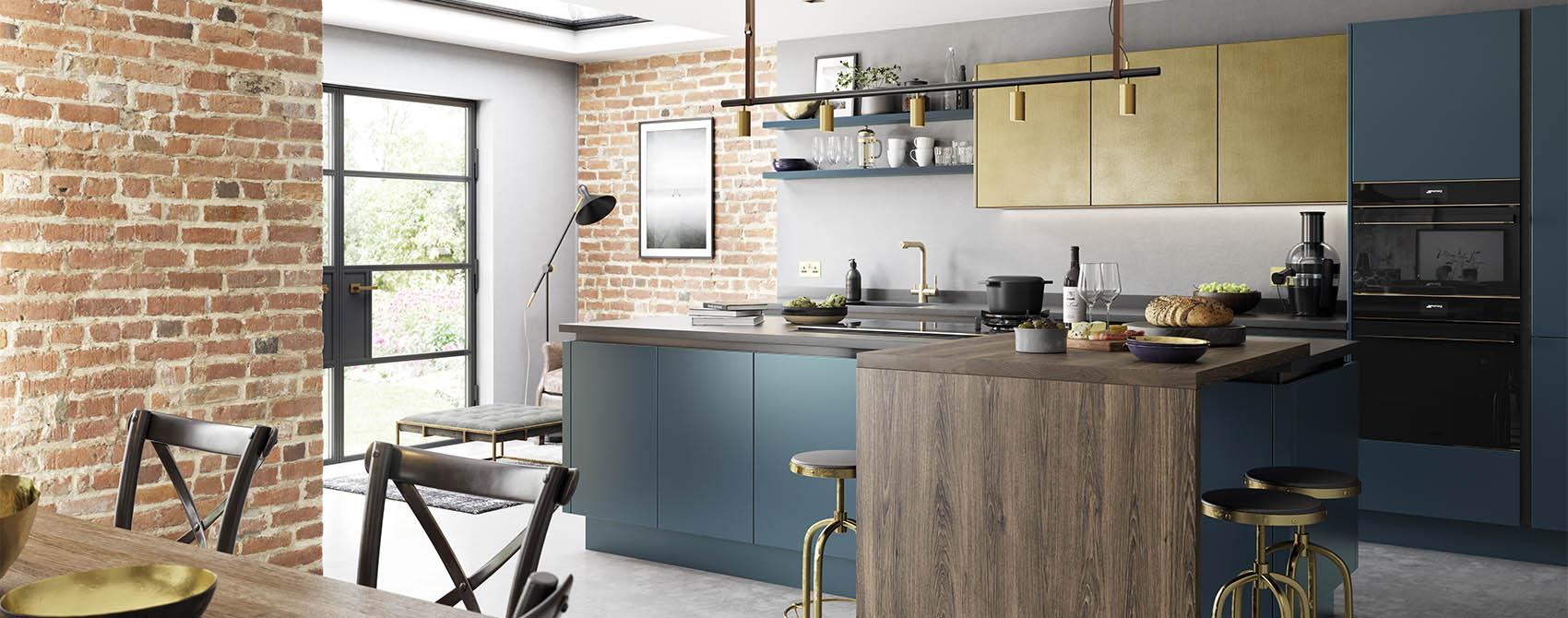Blue handleless kitchen